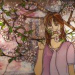 桜と女性の作品 ステンドグラス女性