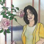 ピンクのバラと女性 ステンドグラス女性